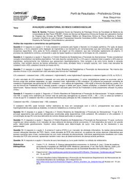 CLÍNICO Questionário - Bioquímica - FEV/2015
