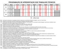 programação de apresentação dos trabalhos - ABS