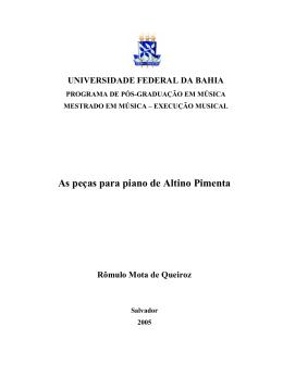As peças para piano de Altino Pimenta - RI UFBA