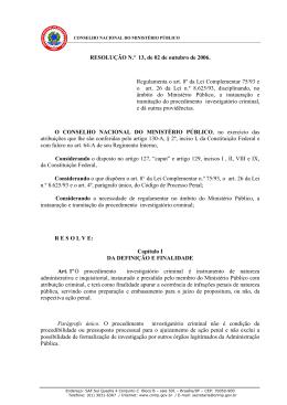 Resolução CNMP Nº 13 Instauração e tramitação do procedimento