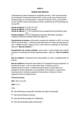 ANEXO 4 REGRAS PARA SERVIÇOS A Desoneração da Folha de