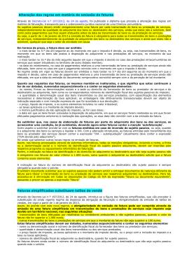 Alteração das regras em matéria de emissão de faturas