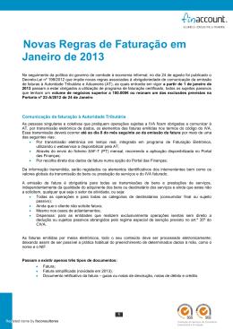 Novas Regras de Faturação em Janeiro de 2013