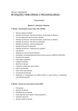 RETENÇÕES TRIBUTÁRIAS E PREVIDENCIÁRIAS