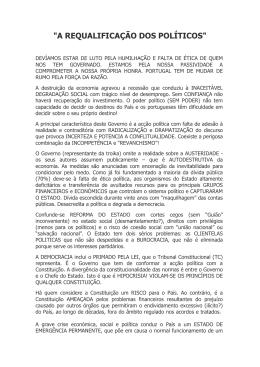 """""""A REQUALIFICAÇÃO DOS POLÍTICOS"""""""