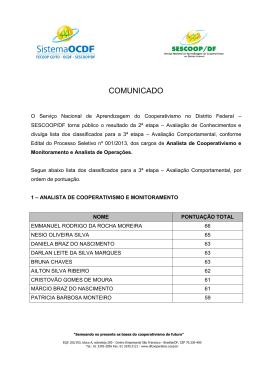Resultado da 2° Etapa - dfcooperativo.coop.br