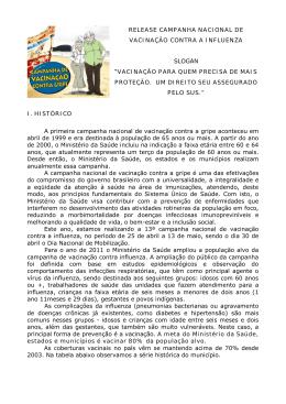 release campanha nacional de vacinação contra a influenza slogan