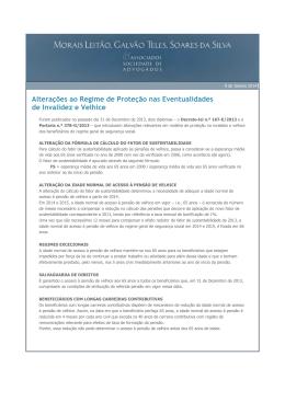 Alterações ao Regime de Proteção nas Eventualidades de Invalidez