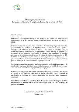 Orientações para Bolsistas Programa Institucional de Doutorado
