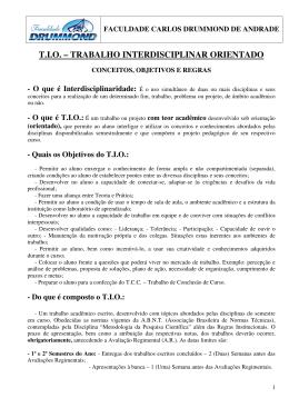 T.I.O. – TRABALHO INTERDISCIPLINAR ORIENTADO