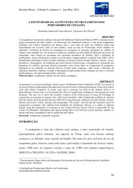 Acupuntura nas Cefaléias - Faculdade Estácio de Sá de Ourinhos