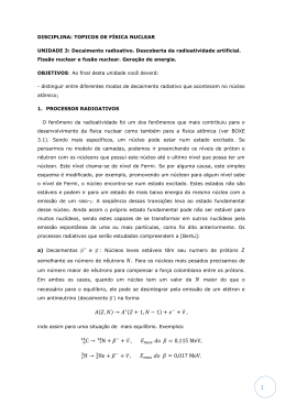 DISCIPLINA: TOPICOS DE FÍSICA NUCLEAR UNIDADE 3