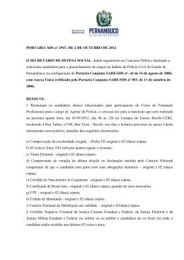 PORTARIA SDS nº 2947, DE 2 DE OUTUBRO DE 2012 O