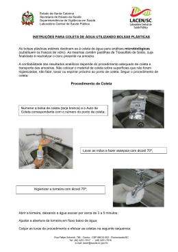 instruções para coleta de água utilizando bolsas plásticas