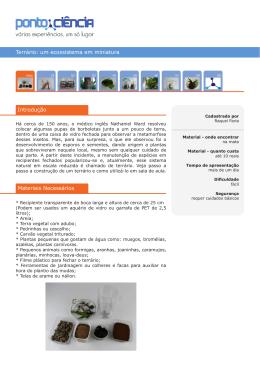 Terrário: um ecossistema em miniatura Introdução Materiais