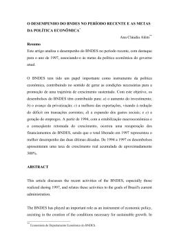 ALÉM, Ana Cláudia. O desempenho do BNDES no período