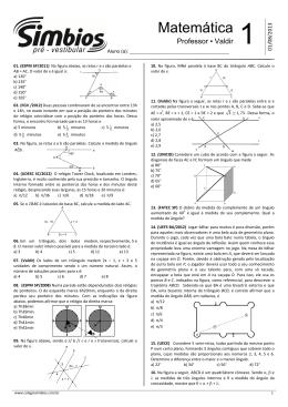 Lista 01 - Paralelismo, Ângulos e triângulos - 2013.2