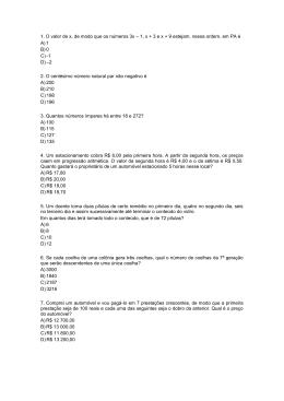 1. O valor de x, de modo que os números 3x – 1, x + 3 e x + 9