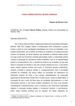 A NOVA CIÊNCIA POLÍTICA, DE ERIC VOEGELIN