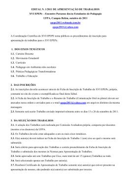 edital para apresentação de trabalhos - Epepe