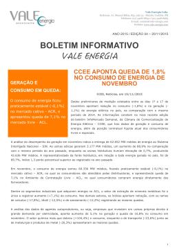 Boletim Informativo VALE ENERGIA 2015-11-20