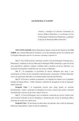 Lei municipal 2125 - Câmara de Vereadores de Taquara
