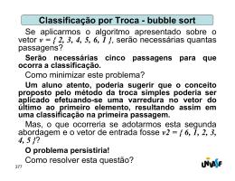 Classificação por Troca - bubble sort