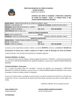 DISTRATO DE JOELMA BALEEIRO - Portal da Prefeitura Municipal