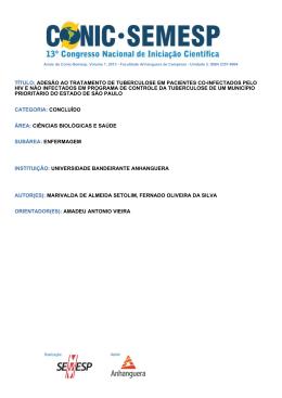 TÍTULO: ADESÃO AO TRATAMENTO DE - O Conic