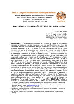 incidencia da transmissão vertical do hiv no ceará - Abenfo-CE