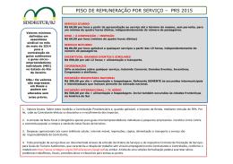 piso de remuneração por serviço – prs 2015