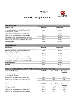 Preços de Utilização Por Hora ANEXO I