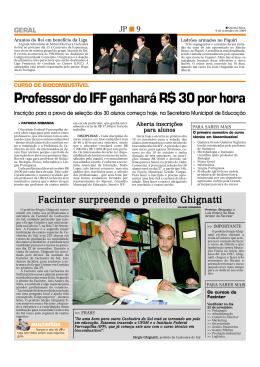 Professor do IFF ganhará R$ 30 por hora