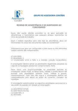 regras de advertência e de suspensão ao funcionário