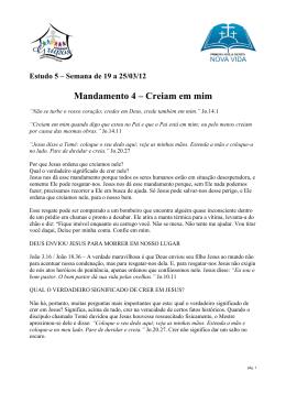 MANDAMENTO 4 – CREIAM EM MIM