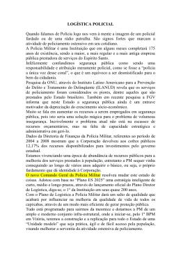 LOGÍSTICA POLICIAL - Polícia Militar do Espírito Santo