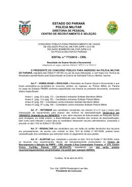 ESTADO DO PARANÁ POLÍCIA MILITAR