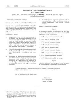 REGULAMENTO (CE) N.o 1101/2005 DA COMISSÃO de