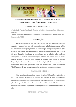 ASPECTOS FISIOPATOLOGICOS DO CÂNCER DE PELE – NOVAS