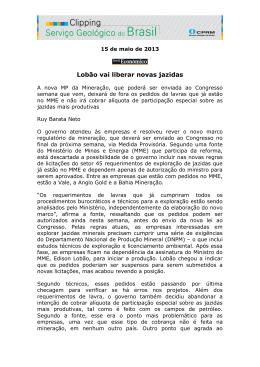 Lobão vai liberar novas jazidas