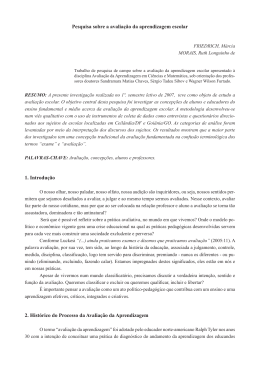 Pesquisa sobre a avaliação da aprendizagem escolar 1. Introdução