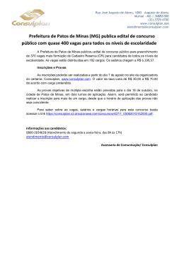 Prefeitura de Patos de Minas (MG) publica edital de