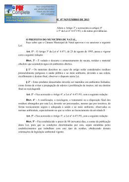 LEI N.º 6.415 DE 07 NOVEMBRO DE 2013 Altera o Artigo 3º e