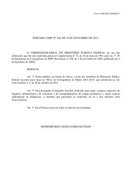 PORTARIA CMPF Nº 106, DE 18 DE NOVEMBRO DE 2013. O