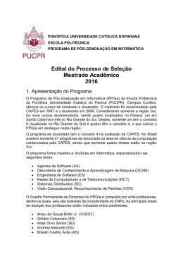 Edital - Programa de Pós-Graduação em Informática