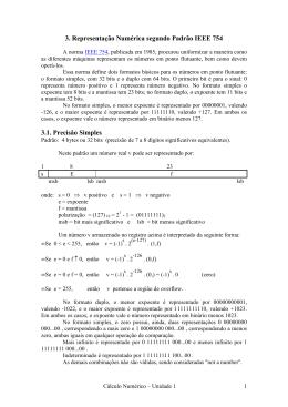 3. Representação Numérica segundo Padrão IEEE 754 3.1