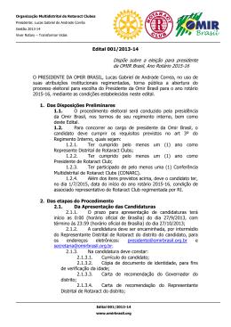 Edital 001/2013-14 Dispõe sobre a eleição para presidente da
