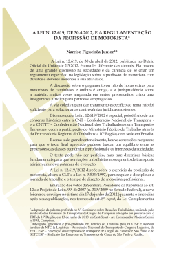 a lei n. 12.619, de 30.4.2012, e a regulamentação da