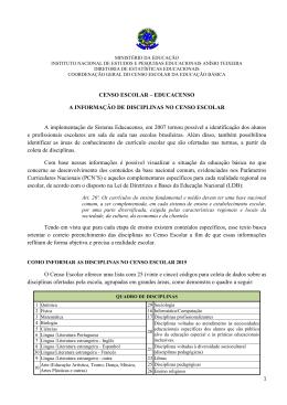 Informações de disciplinas no Censo Escolar