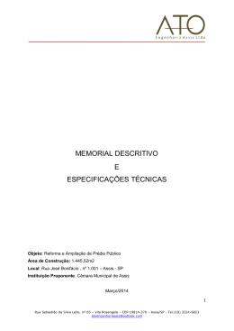 memorial descritivo e especificações técnicas